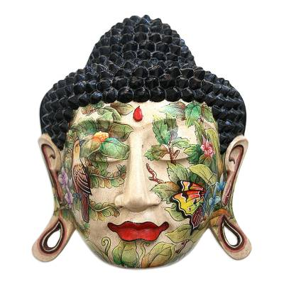 Wood mask, 'Buddha in Nature' - Wood mask