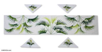 Delightful Cotton Table Runner And Napkins, U0027Tropical Palmsu0027 (set For 4)