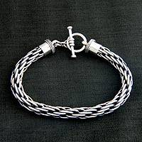 Men's sterling silver bracelet, 'Courage'