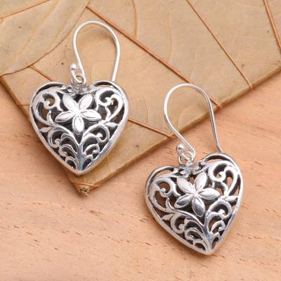Sterling silver heart earrings, 'Love Blossoms' - Heart Shaped Sterling Silver Dangle Earrings
