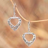 Sterling silver heart earrings, 'Room in My Heart' - Handcrafted Sterling Silver Heart Earrings