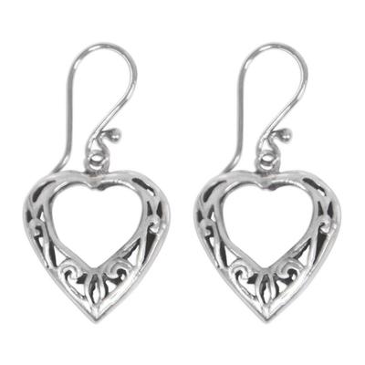 Sterling silver heart earrings, 'Room in My Heart' - Handcrafted Sterling Silver Heart Earrings