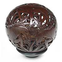 Coconut shell sculpture, 'Wild Horses' - Coconut shell sculpture