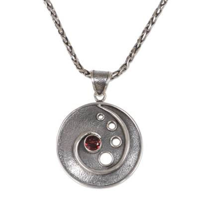 Garnet pendant necklace, 'Morning Surf' - Sterling Silver and Garnet Pendant Necklace