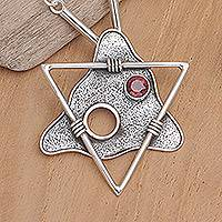 Garnet pendant necklace, 'Triangles' - Modern Sterling Silver and Garnet Pendant Necklace
