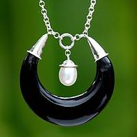 Cultured pearl and horn pendant necklace, 'Nightlight' - Cultured pearl and horn pendant necklace