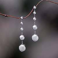 Cultured pearl dangle earrings, 'Moon Phases' - Sterling Silver Cultured Pearl Dangle Earrings