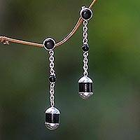 Ebony dangle earrings, 'Victory' - Ebony dangle earrings