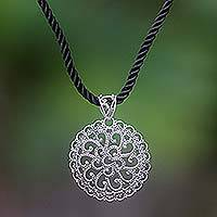 Sterling silver pendant necklace, 'Bali Medallion' - Sterling Silver Pendant Necklace
