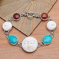 Amber and carved bone bracelet, 'Goddesses' - Turquoise and Carved Bone Bracelet