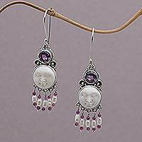 Cultured pearl and amethyst chandelier earrings, 'Dreams' - Unique Bone Cameo Earrings Accented by Pearl and Amethyst