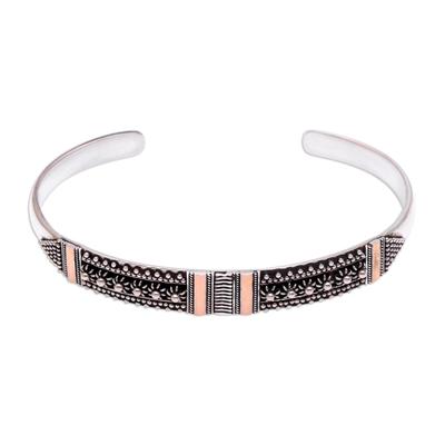 Sterling silver cuff bracelet, 'Gold Night' - Sterling silver cuff bracelet
