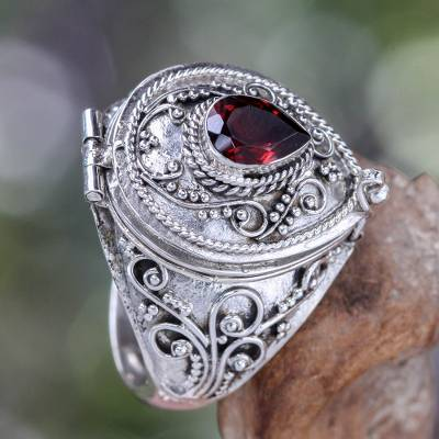 Garnet solitaire locket ring, 'Secret Love' - Handcrafted Sterling Silver and Garnet Locket Ring