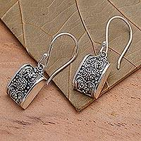 Sterling silver dangle earrings, 'Paradise Square' - Sterling silver dangle earrings