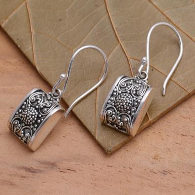 Sterling silver dangle earrings, 'Paradise Square' - Sterling silver dangle earrings