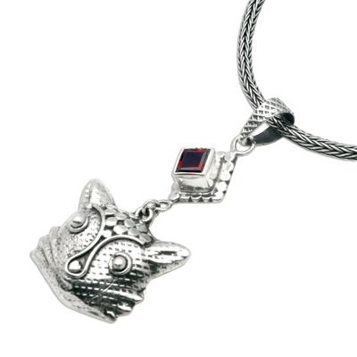 Garnet pendant necklace, 'Cat's Passion' - Sterling Silver and Garnet Pendant Necklace