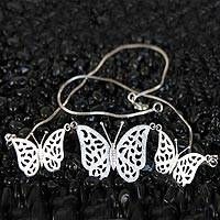 Sterling silver pendant necklace, 'Free as a Butterfly' - Sterling silver pendant necklace