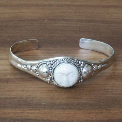 Sterling silver cuff bracelet, 'Moon Goddess' - Sterling Silver and Cow Bone Cuff Bracelet