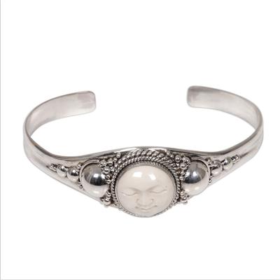 Sterling silver cuff bracelet, 'Moon Goddess' - Sterling Silver and Cow Bone Cuff Bracelet