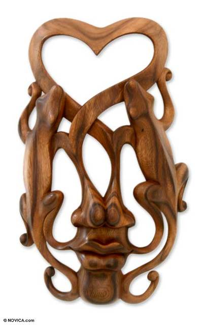Wood mask, 'Song of Love' - Modern Carved Wood Mask