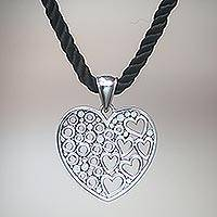 Sterling silver heart necklace, 'Falling In Love'