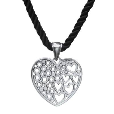 Sterling silver heart necklace, 'Falling In Love' - Sterling Silver Heart Pendant Neckalce