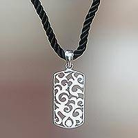 Sterling silver pendant necklace, 'Tongues of Fire'