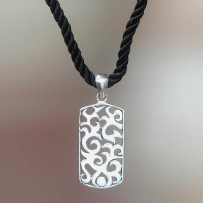 Sterling silver pendant necklace, 'Tongues of Fire' - Sterling silver pendant necklace