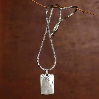 Sterling silver men's necklace, 'Imperfection' - Men's Handcrafted Sterling Silver Pendant Necklace