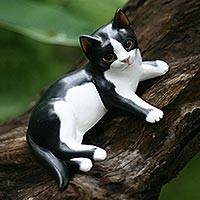 Wood statuette, 'Kitten in a Tux' - Handcrafted Wood Cat Sculpture