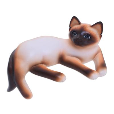Wood statuette, 'Playful Siamese Kitten' - Wood statuette
