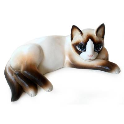 Wood statuette, 'Thoughtful Cat' - Wood statuette