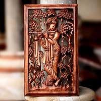 Wood panel, 'Melodious Krishna' - Hand Carved Wood Relief Panel