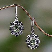 Peridot floral earrings, 'Bright Blossom' - Peridot floral earrings