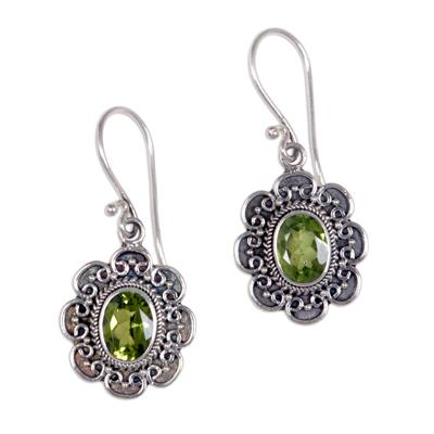 Peridot floral earrings