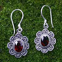 Garnet floral earrings, 'Bright Blossom' - Floral Garnet Sterling Silver Earrings