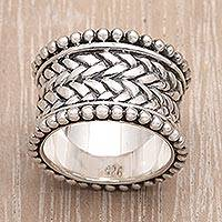 Sterling silver band ring, 'Woven Wonder'