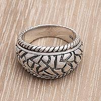Men's sterling silver ring, 'Labyrinth' - Unique Sterling Silver Men's Ring