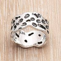 Men's sterling silver ring, 'Moon Craters'
