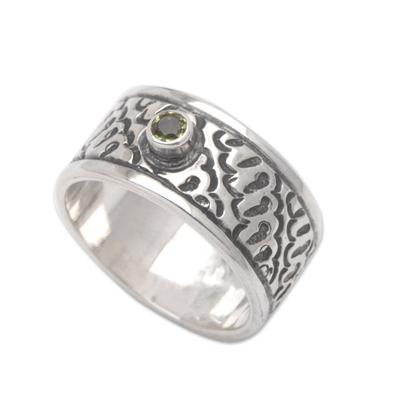 Peridot band ring, 'A Brighter Future' - Peridot and Silver Handcrafted Balinese Band Ring