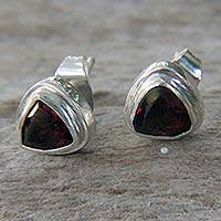Garnet stud earrings, 'Crimson Trinity' - Sterling Silver Garnet Stud Earrings