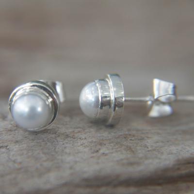 Pearl Stud Earrings White Moon Sterling Silver
