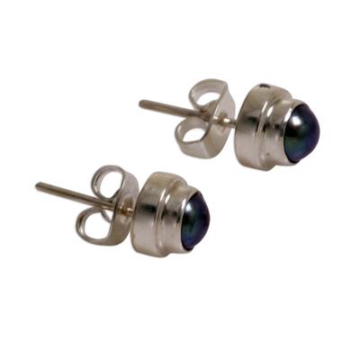 Pearl stud earrings, 'Eclipsed Moon' - Handmade Gray Pearl Sterling Silver Earrings