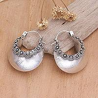 Sterling silver hoop earrings, 'Song of Light' - Sterling Silver Earrings Featuring Ornate Pattern