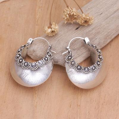 Sterling silver hoop earrings, 'Song of Light' - Sterling Silver Hoop Earrings