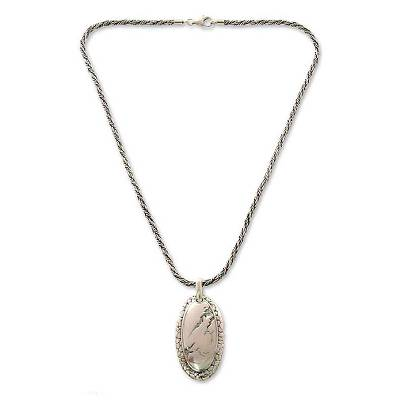 Sterling silver pendant necklace, 'Beginning of Life' - Sterling silver pendant necklace