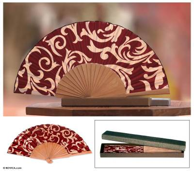 Silk batik fan, 'Red Bali Glory' - Batik Silk Fan