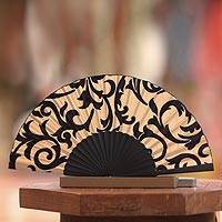 Silk batik fan, 'Bali Glory'