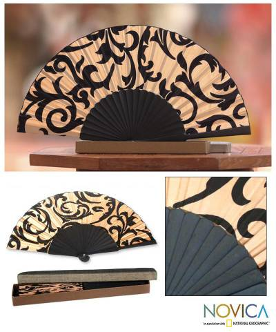 Silk batik fan, Bali Glory