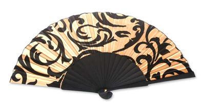 Silk batik fan, 'Bali Glory' - Silk Batik Patterned Fan
